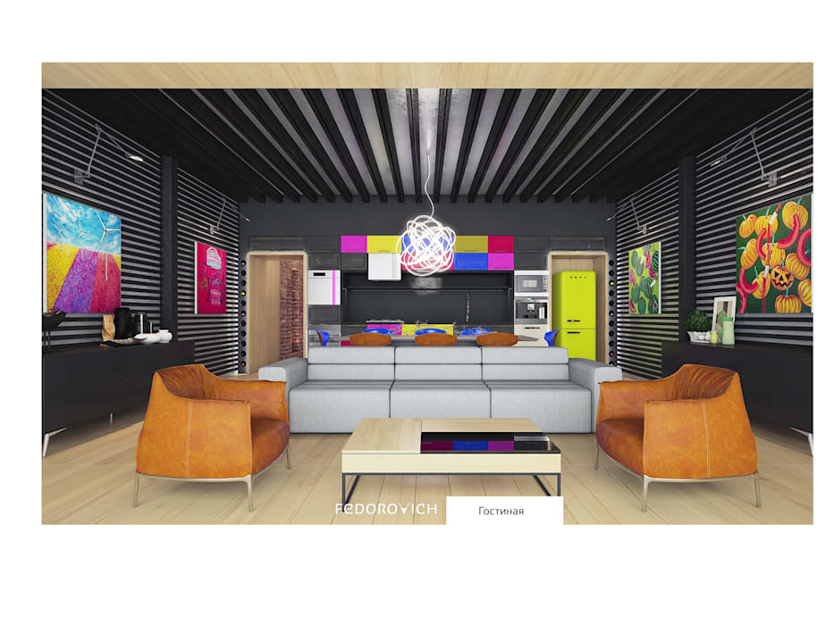 Salon industriel par FEDOROVICH Interior Industriel