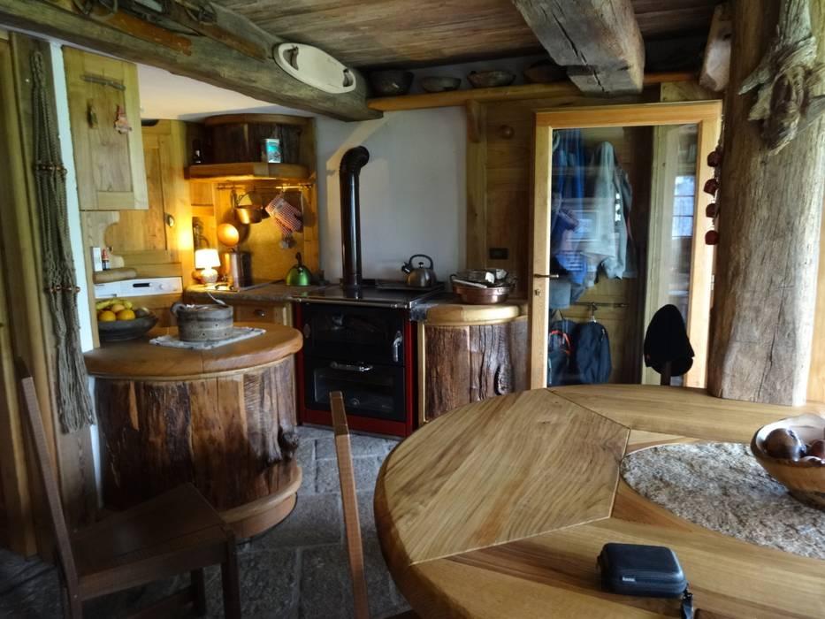 Calda cucina per baita di montagna: soggiorno in stile in stile ...