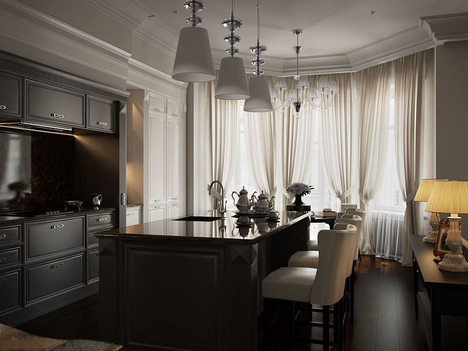 интерьер квартиры на Сретенском бульваре Архитектурное бюро Андрея Стубе Кухни в эклектичном стиле