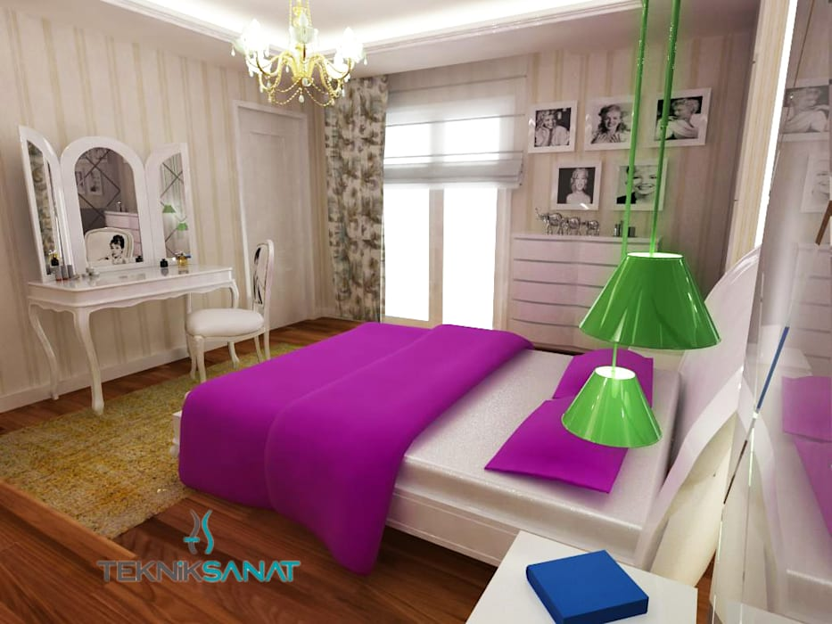 K. YILMAZ EVİ Klasik Yatak Odası Teknik Sanat İç Mimarlık Renovasyon Ltd. Şti. Klasik