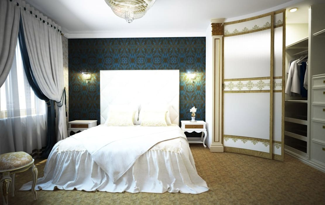 Дизайн интерьера спальни в классическом стиле: Спальни в . Автор – Альбина Романова