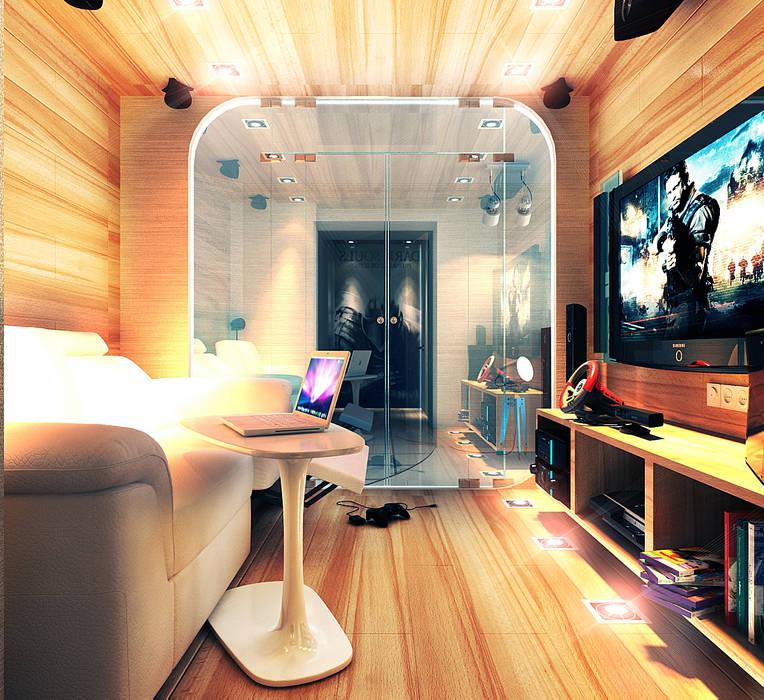 living room with the game box Your royal design Гостиная в стиле минимализм