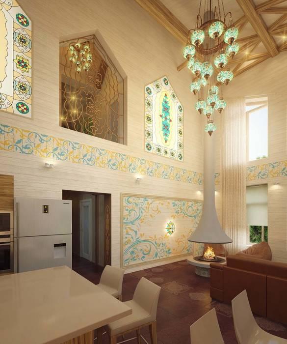 Гостиная Гостиные в эклектичном стиле от Студия дизайна интерьера 'Золотое сечение' Эклектичный Дерево Эффект древесины