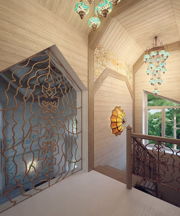 Pasillos, vestíbulos y escaleras de estilo colonial de Студия дизайна интерьера 'Золотое сечение' Colonial Madera Acabado en madera
