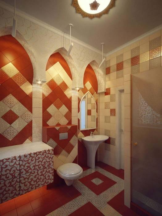 Baños de estilo ecléctico de Студия дизайна интерьера 'Золотое сечение' Ecléctico Cerámico