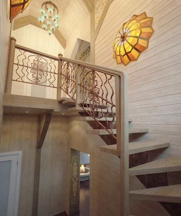 Colonial style corridor, hallway& stairs by Студия дизайна интерьера 'Золотое сечение' Colonial Wood Wood effect