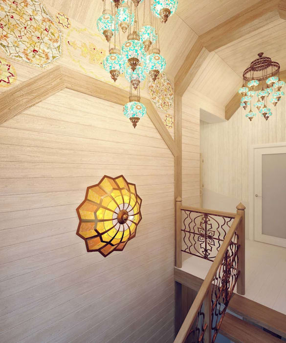 Colonial style corridor, hallway& stairs by Студия дизайна интерьера 'Золотое сечение' Colonial Wood Wood effect