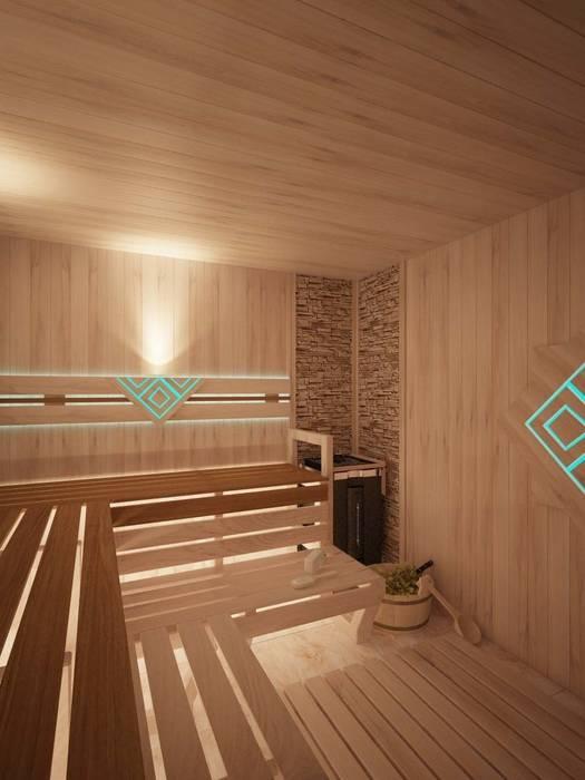 Spas de estilo minimalista de Студия дизайна интерьера 'Золотое сечение' Minimalista Madera Acabado en madera