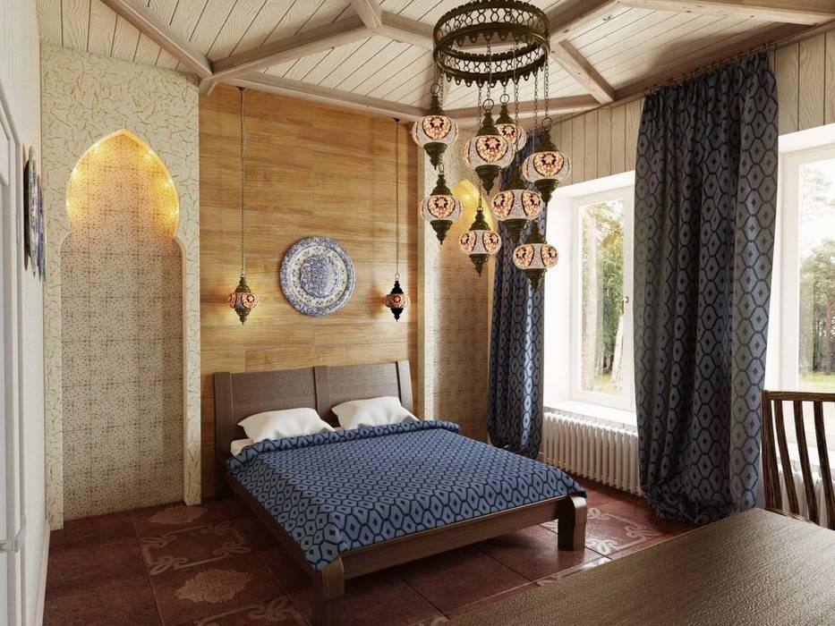Colonial style bedroom by Студия дизайна интерьера 'Золотое сечение' Colonial Wood Wood effect