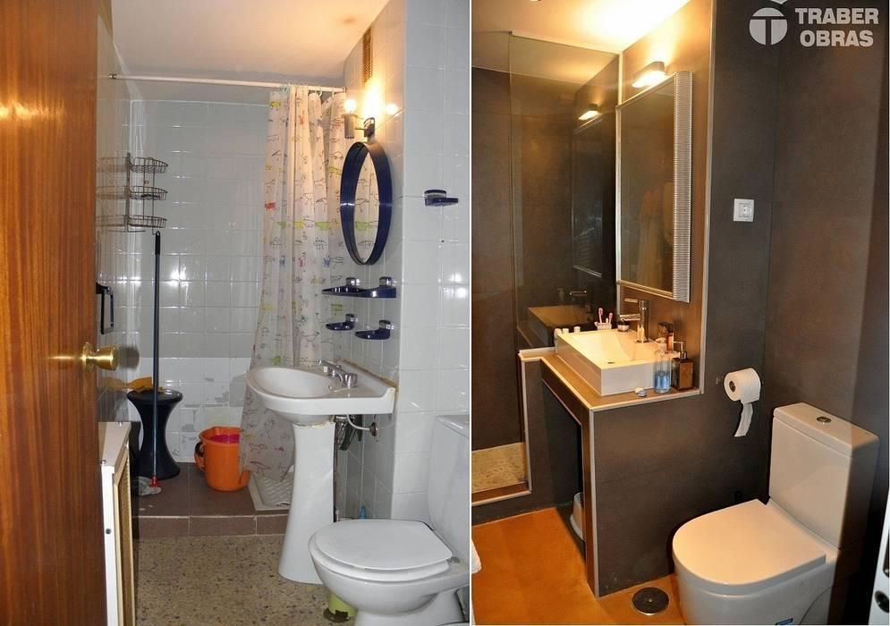 Reforma integral de vivienda en Madrid por Traber Obras. Baño antes y después.:  de estilo  de Traber Obras