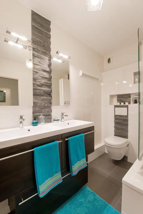 Salle de bains ardoise/wengé: salle de bains de style par am by ...