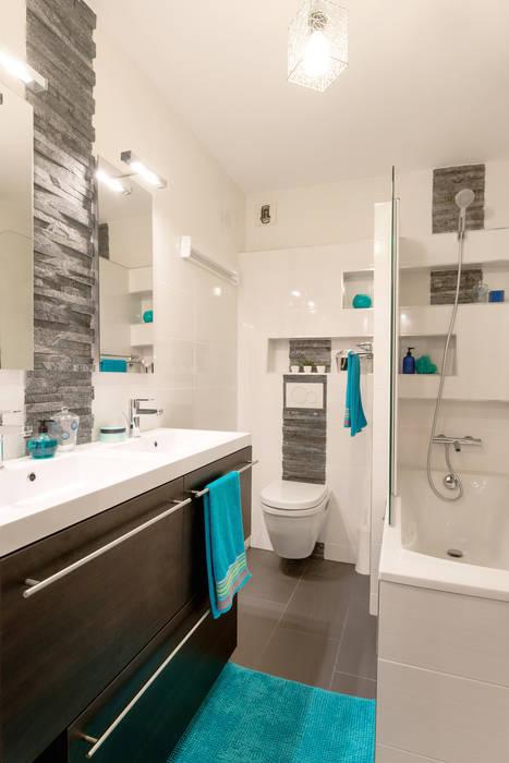 Salle de bain ardoise/wengé/wc suspendu/baignoire: salle de ...