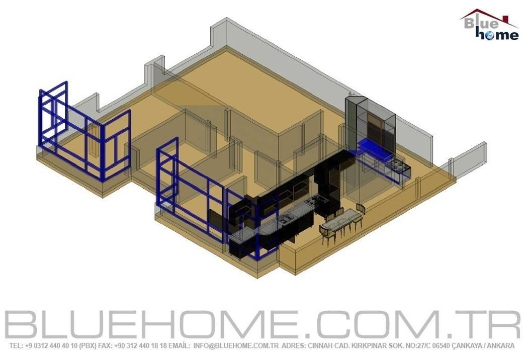 Proje ve Uygulama Modern Oturma Odası Blue Home Modern