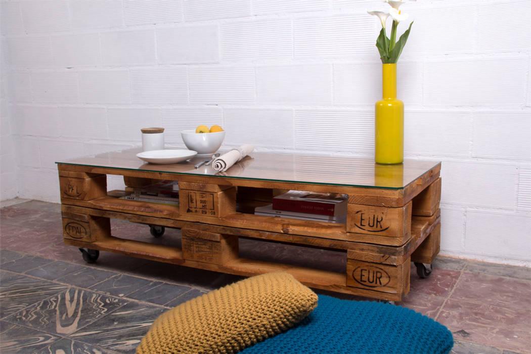 RUSELL mesa palets. 120x47cm, 2 alturas de ECOdECO Mobiliario Rústico