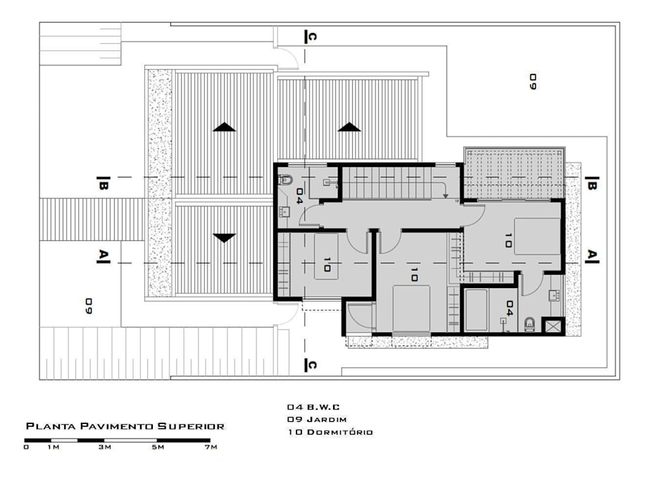 First Floor Plan (Planta do pavimento superior) de Tony Santos Arquitetura Moderno