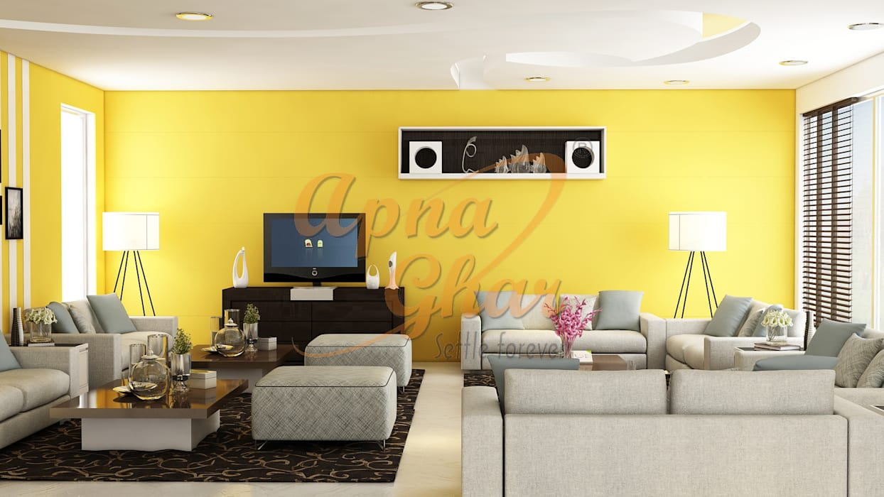 Drawing Room Interior Design:  Living room by ApnaGhar.co.in