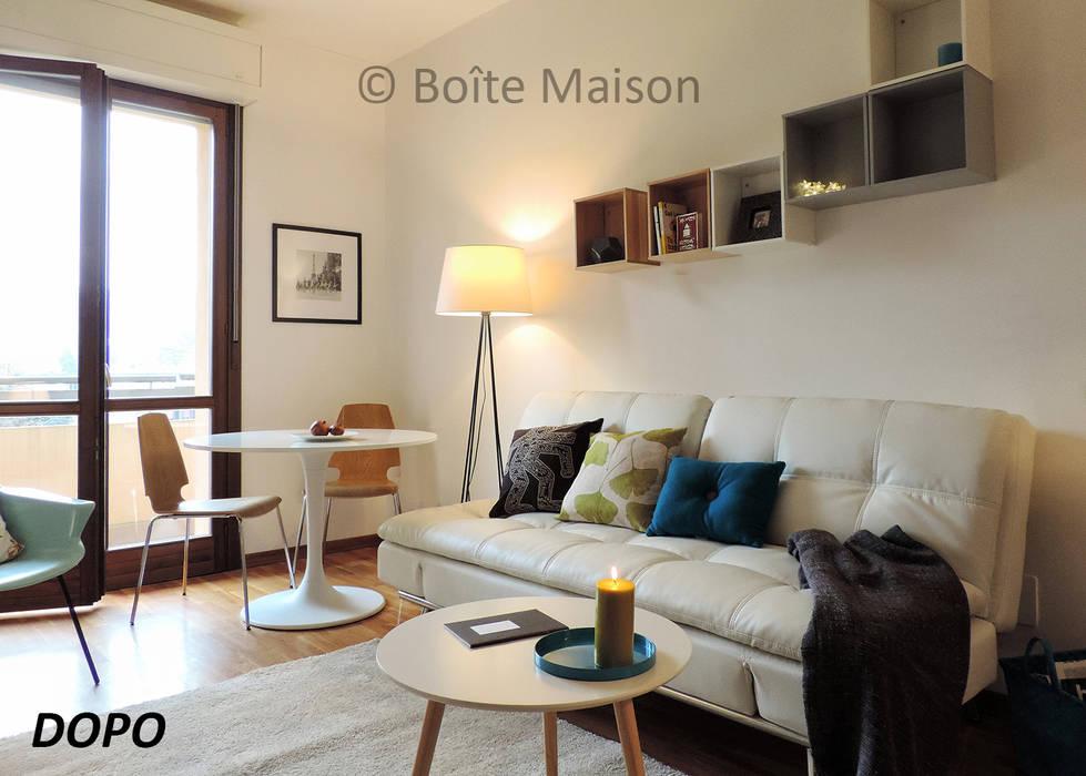 ARREDAMENTOCOMPLETO PER BILOCALE IN AFFITTO: Soggiorno in stile in stile Moderno di Boite Maison
