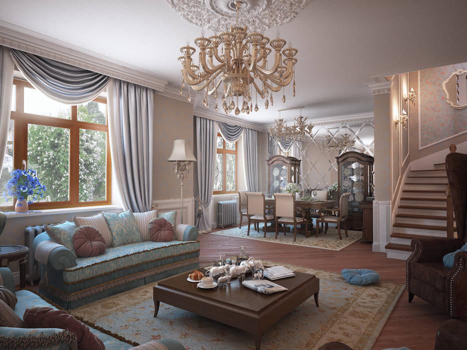 Дом с английскими мотивами Гостиная в классическом стиле от премиум интериум Классический