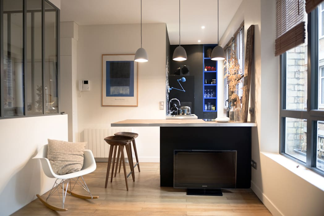 2 pièces de 28m2 Cuisine moderne par Atelier Grey Moderne