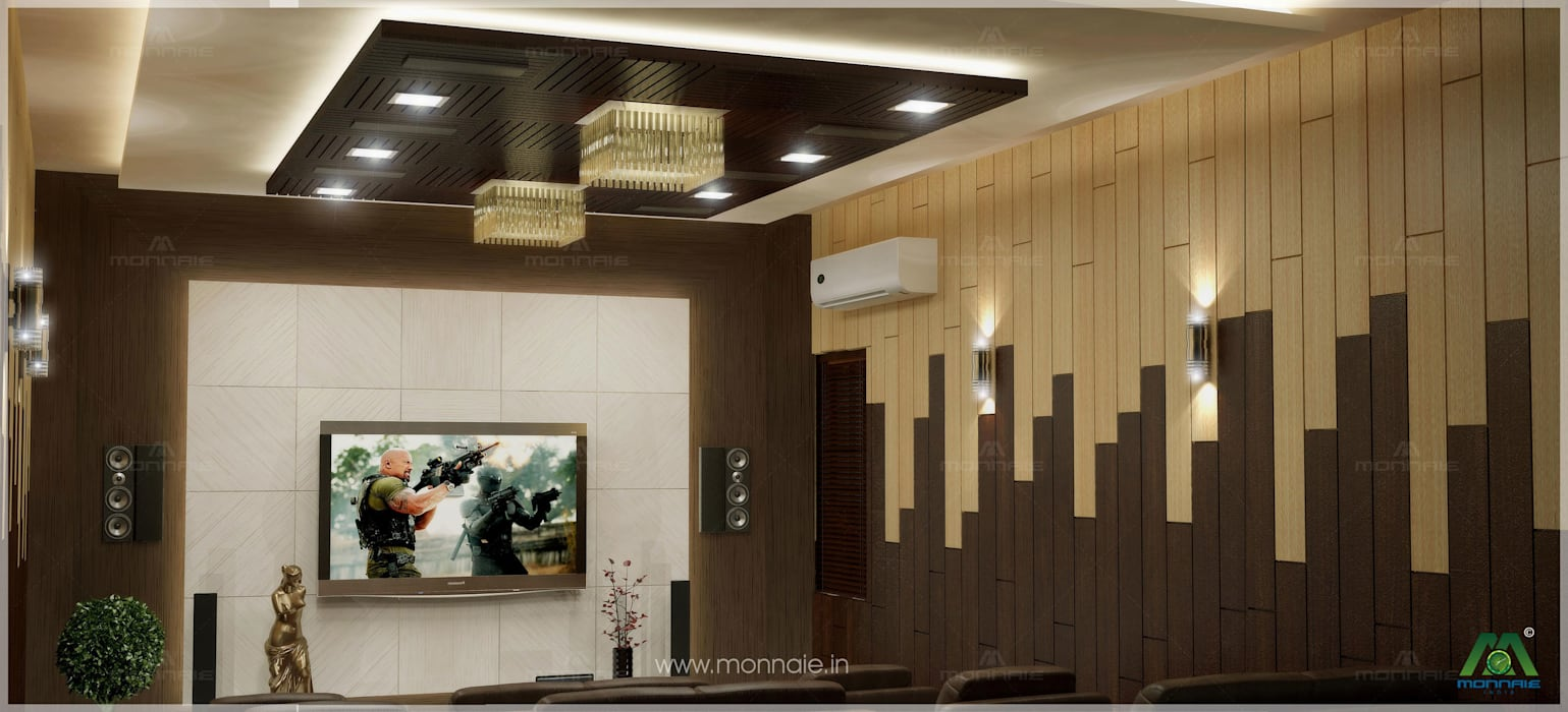 Home theatre:  Media room by Monnaie Interiors Pvt Ltd