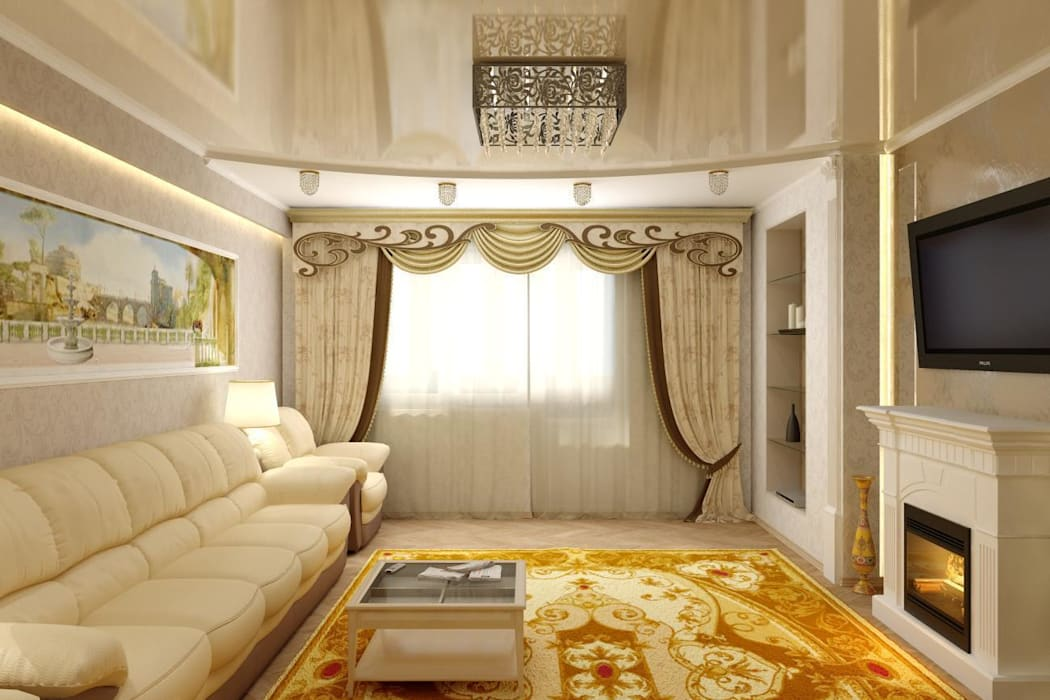 Дизайн гостиной с панорамной фреской: Гостиная в . Автор – Цунёв_Дизайн. Студия интерьерных решений.