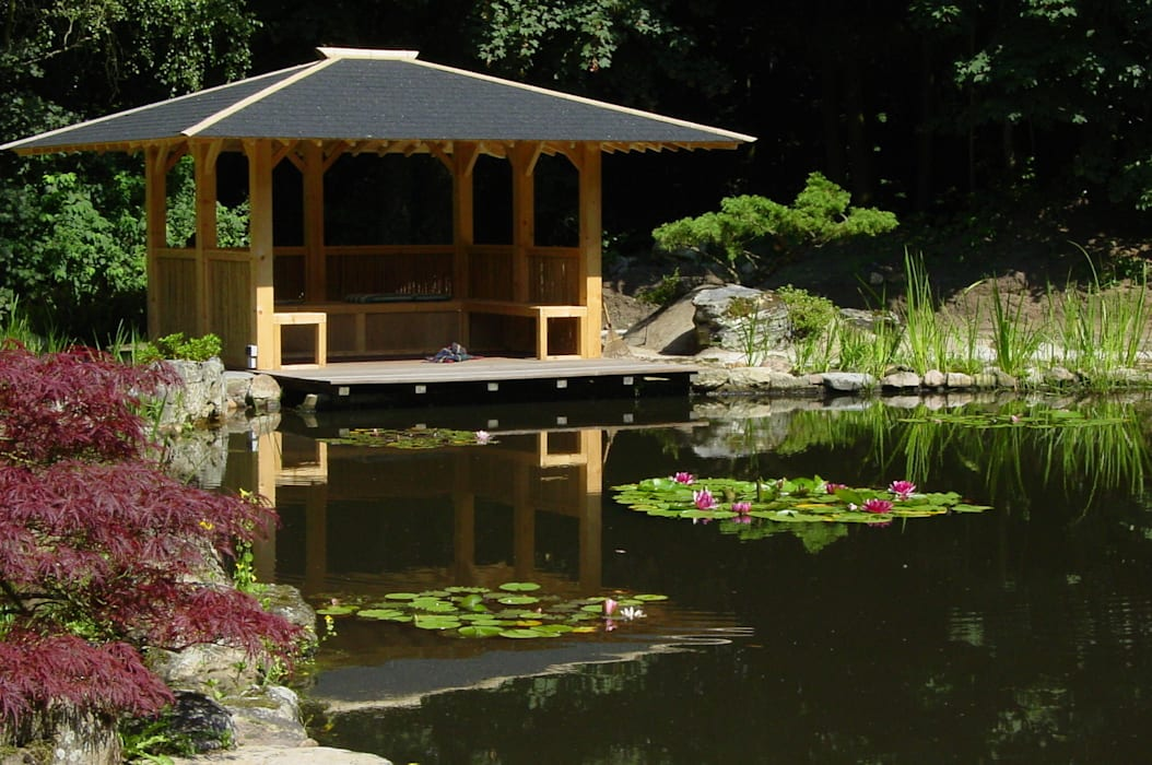 Gartengestaltung unter Anwendung der japanischen Gartenkunst: asiatischer Pool von japan-garten-kultur