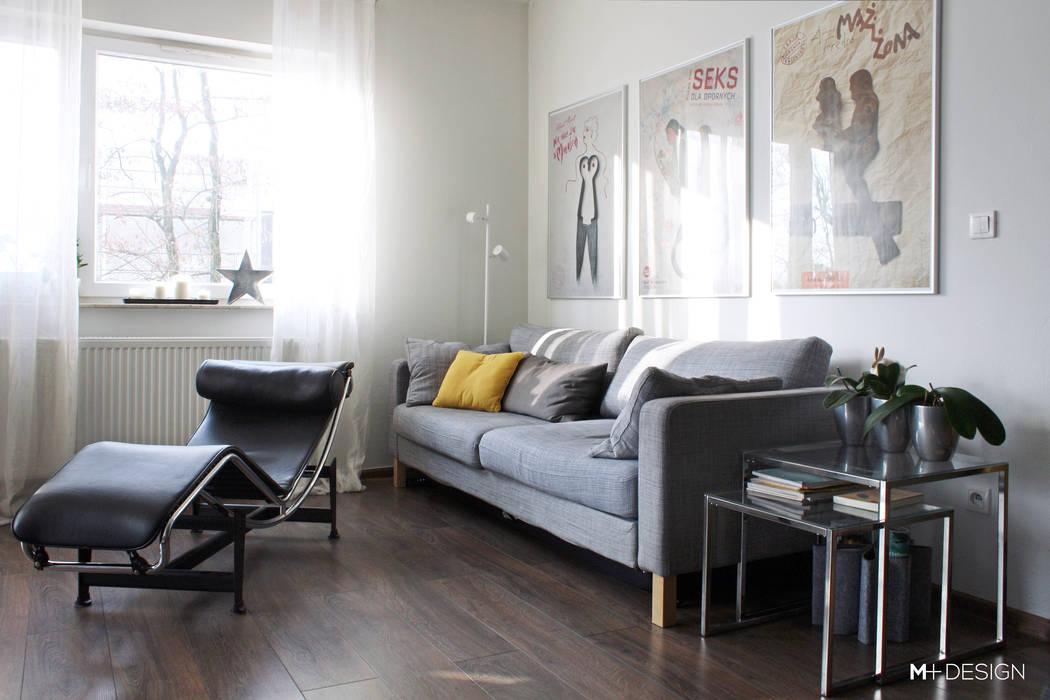 Mieszkanie 64m2 M+ DESIGN Marta Dolnicka Marchaj Minimalistyczny salon