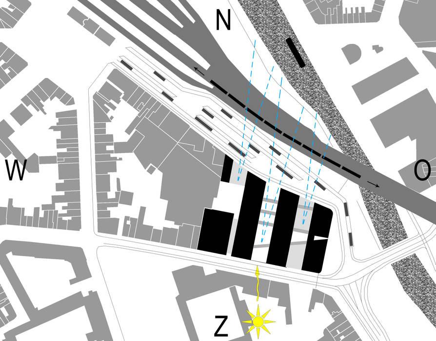 Inplanting kantorenstrips Moderne kantoorgebouwen van Abscis Architecten bvba Modern