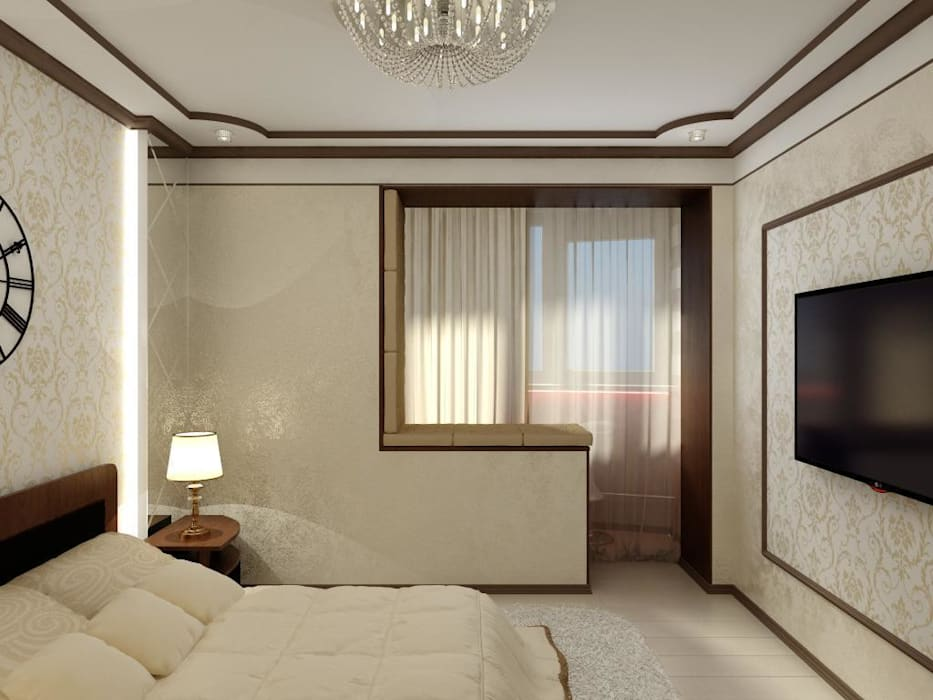 Спальня в классическом стиле с барной комнатой. Спальня в классическом стиле от Цунёв_Дизайн. Студия интерьерных решений. Классический