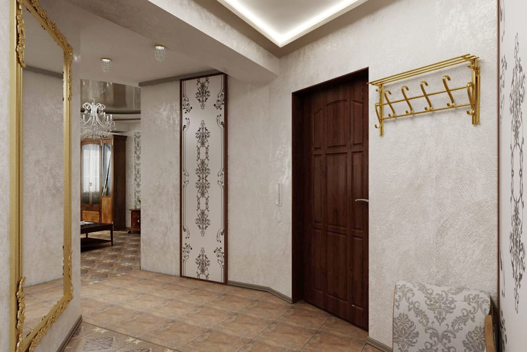 Классическая прихожая. Дизайн проект. Коридор, прихожая и лестница в классическом стиле от Цунёв_Дизайн. Студия интерьерных решений. Классический