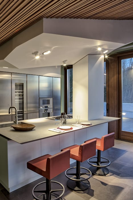 MG2 Architetture – Interior with terrace: Cucina in stile in stile Moderno di mg2 architetture