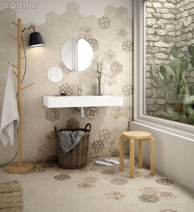 Hexatile Cement Sand, Decor Garden Sand 17,5x20 Baños de estilo rústico de Equipe Ceramicas Rústico