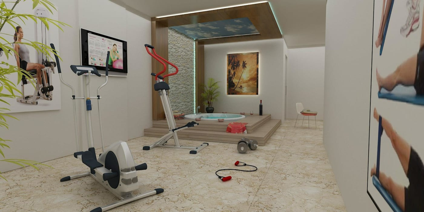 VİLLA N'MODA Akdeniz Fitness Odası CANSEL BOZKURT interior architect Akdeniz