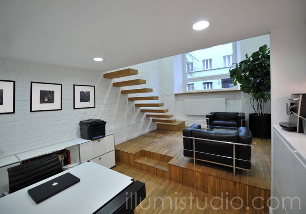 BIURO: styl , w kategorii Przestrzenie biurowe i magazynowe zaprojektowany przez ILLUMISTUDIO
