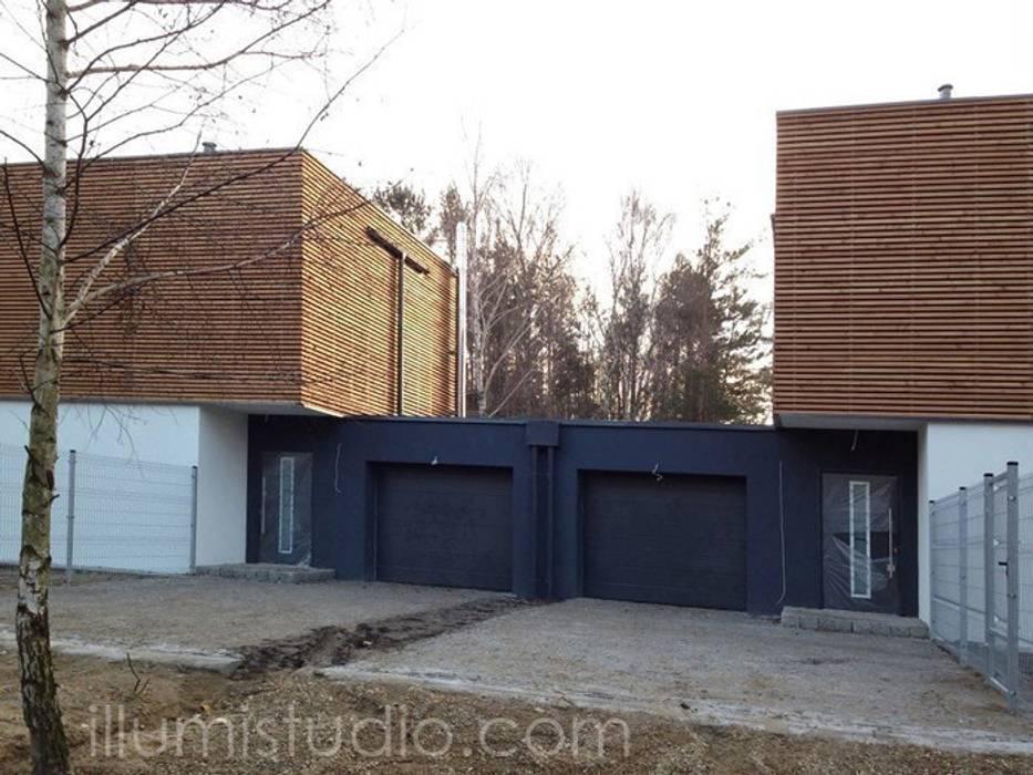 DOMY W ZABUDOWIE BLIŹNIACZEJ: styl , w kategorii Domy zaprojektowany przez ILLUMISTUDIO