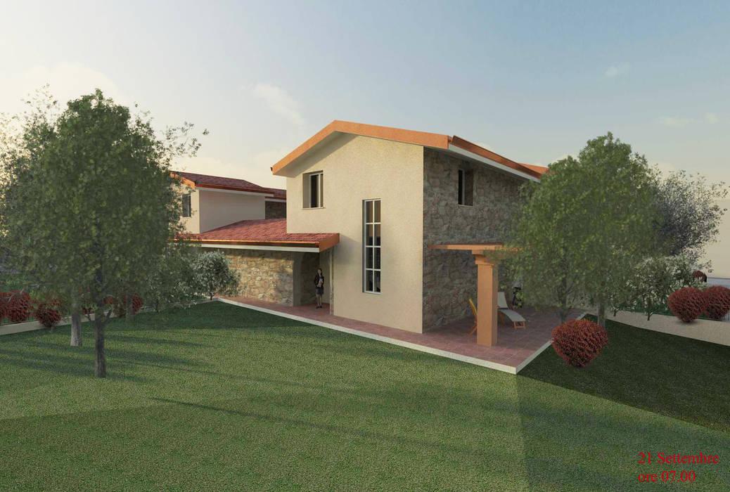 Vista tergale Della villetta Studio la Piramide Architettura e Urbanistica Pareti & Pavimenti in stile rustico
