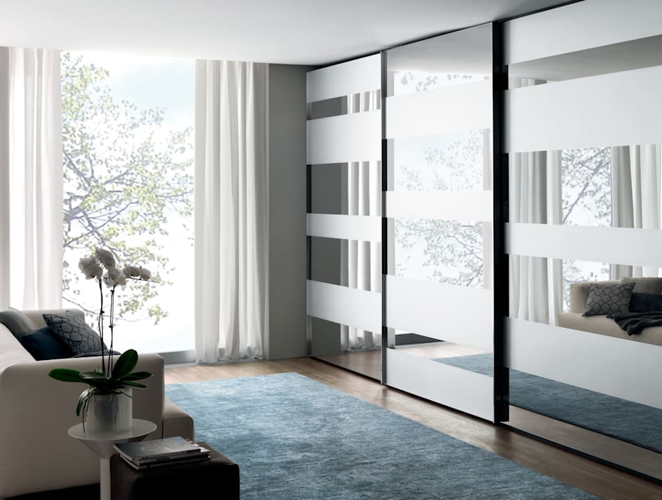 Segmenta wardrobe - Pictured here in natural / Silver mirror and frosted mirror Lamco Design LTD BedroomWardrobes & closets