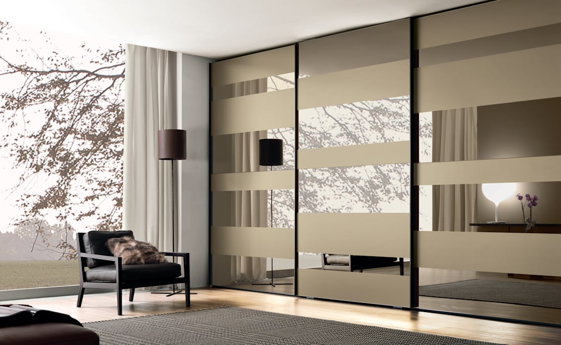 Segmenta sliding door wardrobe - Pictured here in Bronze mirror and frosted bronze mirror.:  Bedroom by Lamco Design LTD