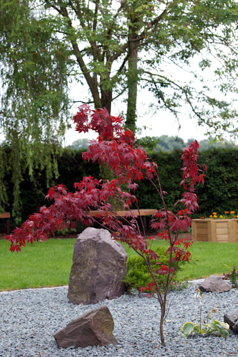 A tranquil combination of traditional rock, slate and Acer Lush Garden Design Сад