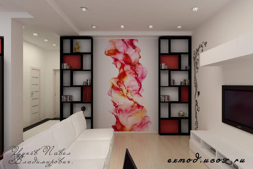 Дизайн проект частного дома в стиле авангард.: Гостиная в . Автор – Цунёв_Дизайн. Студия интерьерных решений.