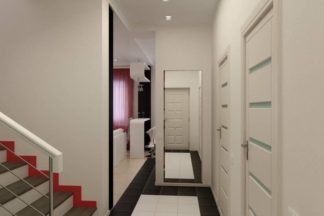 Дизайн проект частного дома в стиле авангард. Коридор, прихожая и лестница в стиле минимализм от Цунёв_Дизайн. Студия интерьерных решений. Минимализм