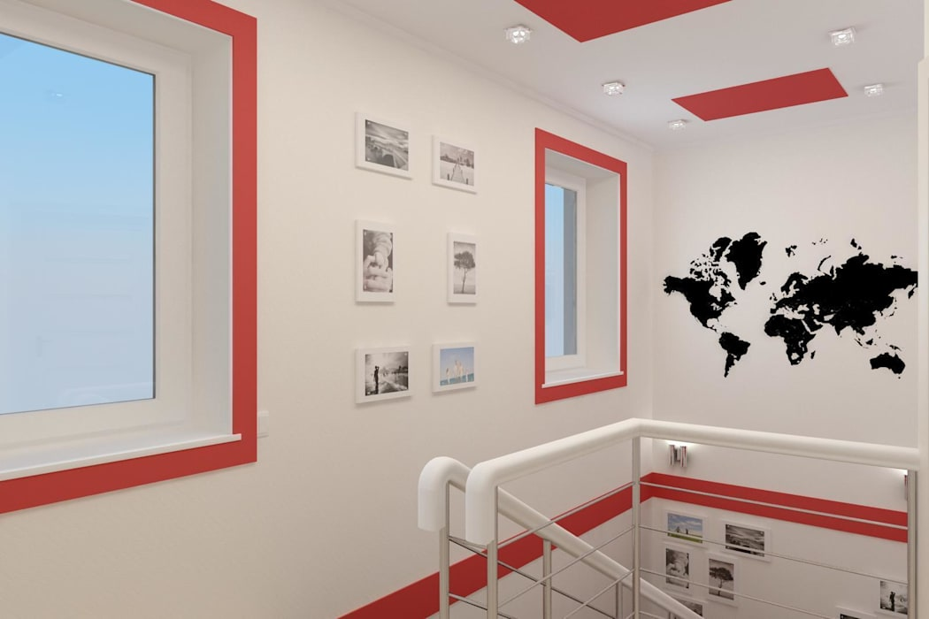 Дизайн проект частного дома в стиле авангард.: Коридор и прихожая в . Автор – Дизайн студия 'Exmod' Павел Цунев