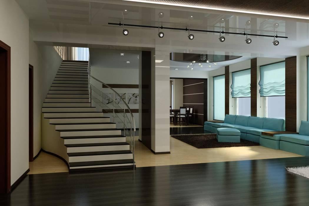 Частный дом в стиле минимализм.: Гостиная в . Автор – Цунёв_Дизайн. Студия интерьерных решений.