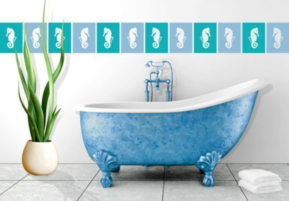 Décor de carrelage : hippocampe 2: salle de bain de style par wall ...