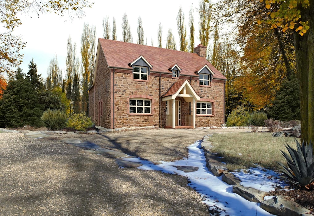 3d architectural visualisation project in London by RedWhite Creative Agency Rustic style house by REDWHITE CA Rustic