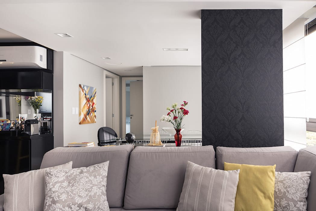 Estar e Jantar: Salas de estar  por Blacher Arquitetura,Moderno