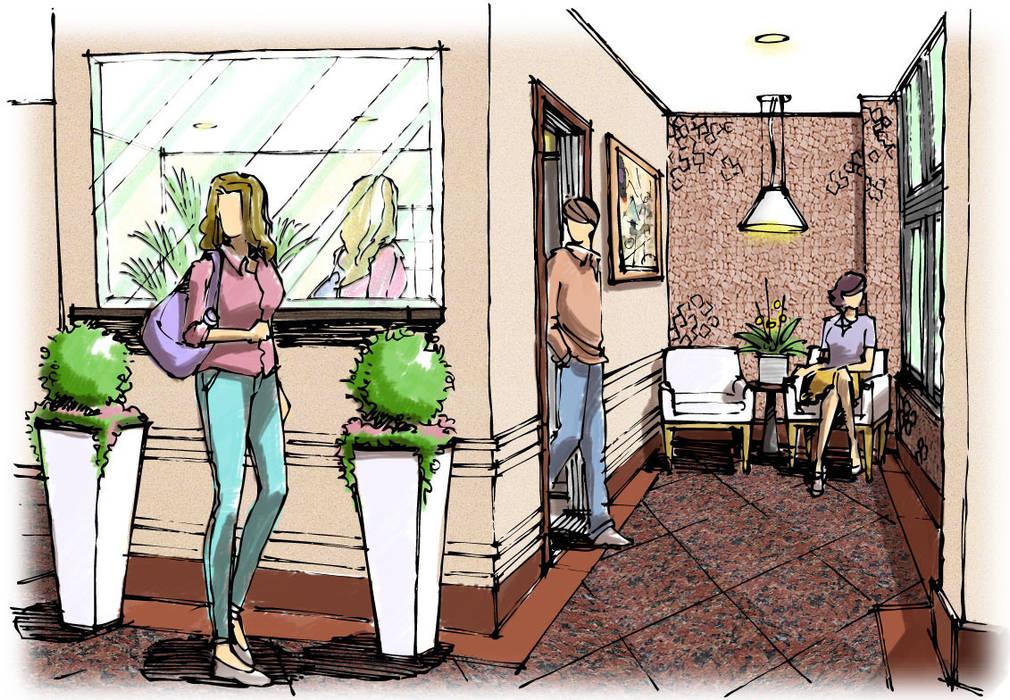 Hall Residencial Corredores, halls e escadas modernos por Blacher Arquitetura Moderno