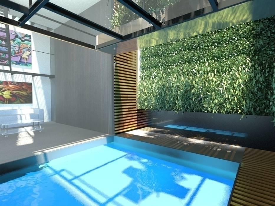 Piscina: Piscina in stile in stile Minimalista di gk architetti  (Carlo Andrea Gorelli+Keiko Kondo)
