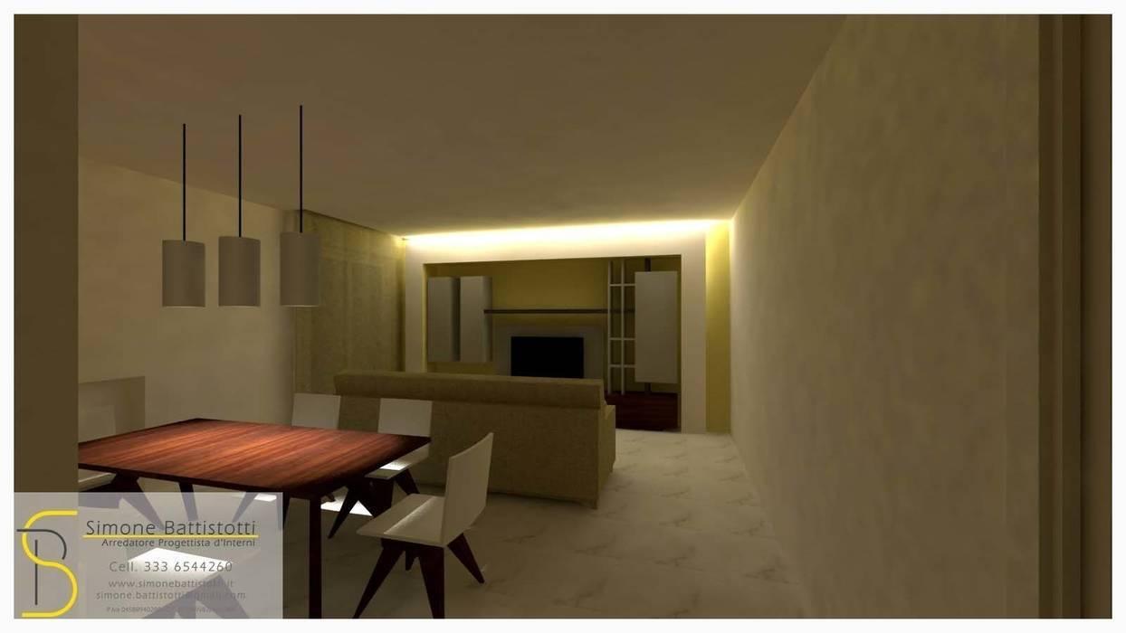 Progetto zona giorno: Soggiorno in stile in stile Moderno di Simone Battistotti - SB design