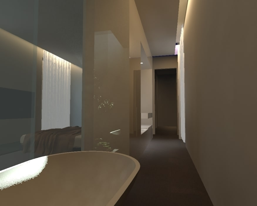 Banheiros minimalistas por gk architetti (Carlo Andrea Gorelli+Keiko Kondo) Minimalista
